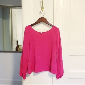 Bright Pink Silk Blouse w/ White Lace Detail